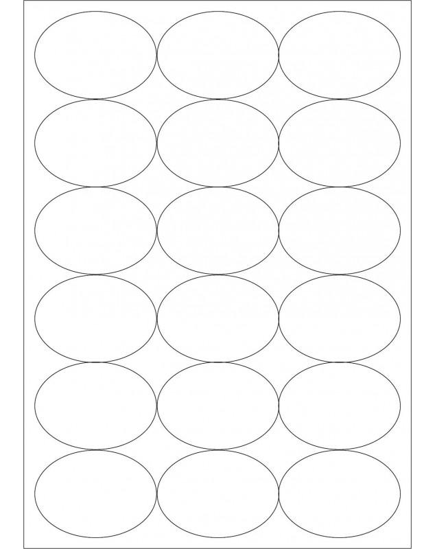 100 Planches d'étiquettes ovales 63mmx42mm
