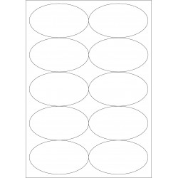 100 Planches d'étiquettes ovales 87mmx56mm