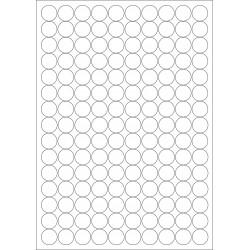 100 Planches d'étiquettes rondes diamètre 12mm