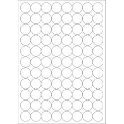 100 Planches d'étiquettes rondes diamètre 23mm