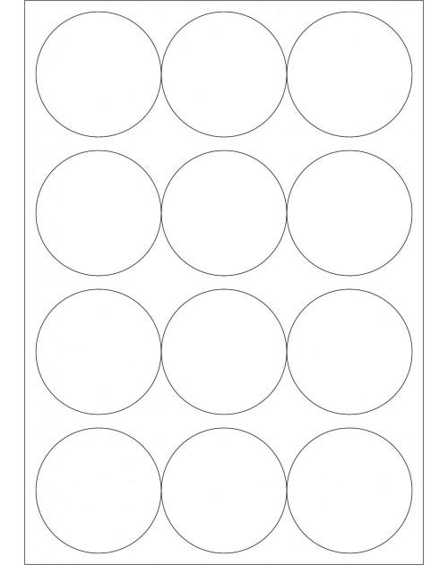 100 Planches d'étiquettes rondes diamètre 63mm