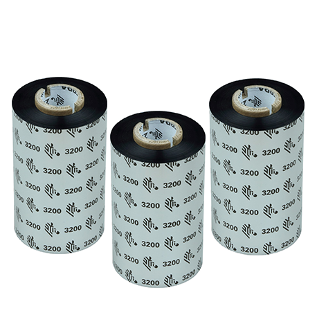 Carton de 6 rubans transfert thermique cire-resine Zebra 3200-83mmx300m-6E