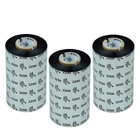 Carton de 6 rubans transfert thermique cire-resine Zebra 3200-80mmx450m-6E