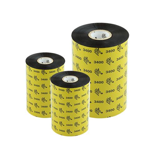 Carton de 6 rubans transfert thermique cire-resine Zebra 3400-220mmx450m-6E