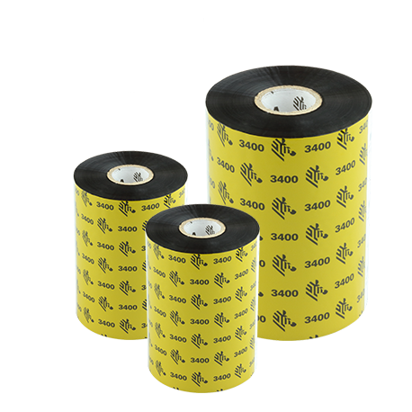 Ruban transfert thermique cire-résine Zebra 3400-131mmx450m-6E