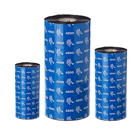 Carton de 12 rubans transfert thermique resine Zebra 4800-156mmx450m-12E
