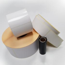 Rouleaux de 1500 étiquettes 100x100mm velin permanent 76/190/1500